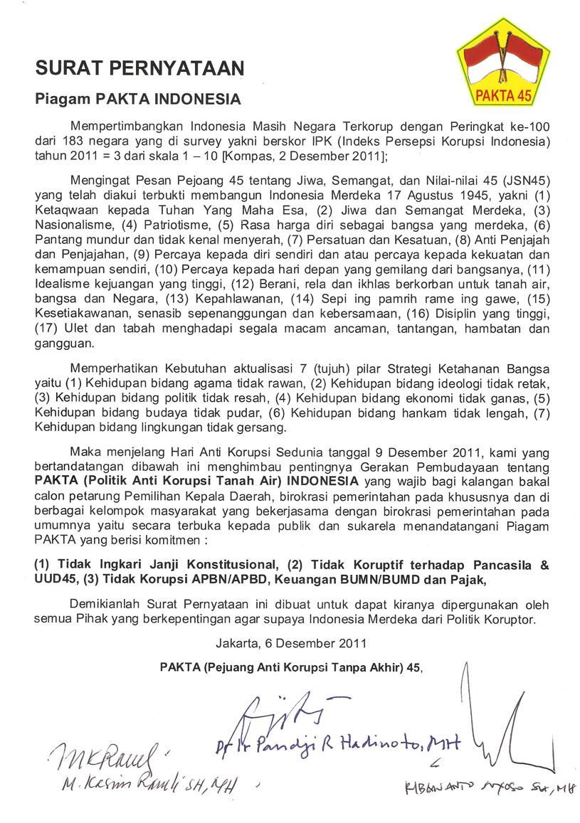 Kenegarawanan Pakta Pejuang Anti Korupsi Tanpa Akhir 45 Jakarta 45